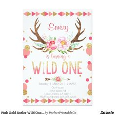 Pink Gold Antler Wild One Birthday Invitation