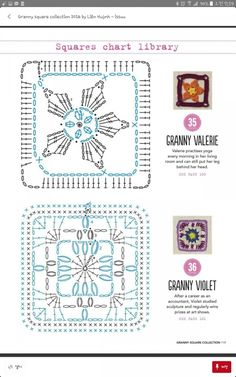 from Granny square collection 2016 Crochet Motif Patterns, Crochet Blocks, Granny Square Crochet Pattern, Crochet Diagram, Crochet Squares, Crochet Chart, Grannies Crochet, Crochet Doilies, Motifs Granny Square