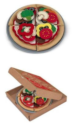 DELIVERY!!! {Felt Play Food Pizza Set + Box} Make a 10-inch felt pizza to please any palate with this 42-piece create-a-pizza set. Your little chef can choose from an array of colorful toppings, and even customize each slice. Then slide the pizza into the box--time to deliver!