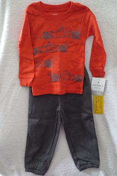 GYMBOREE Boys Fire Engine  Long Sleeve Top and Pants Outfit  NEW SIZE 12-18 MTHS