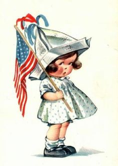 Fourth of July illustration by Charles Twelvetrees – Kewpie, Happy 4 Of July, Fourth Of July, Vintage Greeting Cards, Vintage Postcards, Vintage Pictures, Vintage Images, Patriotic Images, Images Gif