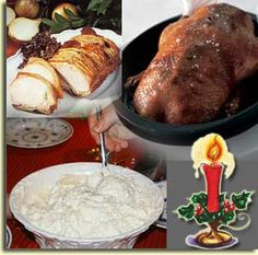 A description of the Danish Christmas dinner with recipes for Danish Pork Roast, Roast duck, Ris ala Mande