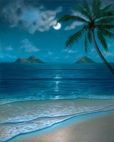 One of Hawaii artist Thomas Deir's popular tropical beach scenes paintings featuring a breathtaking full-moon view of the Mokulua Islands and the Milky Way. Beautiful Nature Pictures, Beautiful Nature Wallpaper, Beautiful Moon, Beautiful Beaches, Beautiful Landscapes, Ocean Wallpaper, Beach Landscape, Seascape Paintings, Tropical Paintings