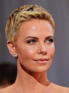 Short Hairstyles Lookbook: Charlize Theron wearing Pixie (46 of 86). Charlize Theron's bottle-blond pixie exuded modern femininity at the 2013 Oscars.