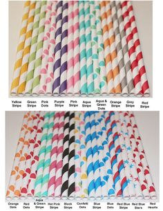 100 Paper Straws - YOU PICK your COLORS and Design - Stripes, Dots, Party, Wedding, Birthday, Baby Shower, Events, Made In Usa. $16.00, via Etsy.