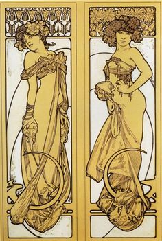 Alphonse Mucha. Two Standing Women
