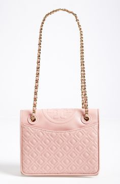 Such a pretty pink diamond quilted shoulder bag | Tory Burch.
