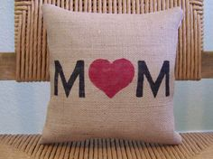 Mom pillow burlap pillow Love mom pillow by KelleysCollections