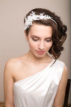 Bridal lace headband with Swarovski pearls, lace headpiece