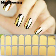 1 foglio Nail Art Patch di Minx Oro Argento Nero Liscio Nail Tips Sticker Involucri, Decorazione Del Chiodo Della Copertura Completa Progettato adesivi