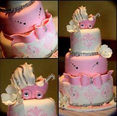 Glam baby shower cake! www.royalcakesLA.com