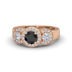 Cora Ring customized in black diamond, diamond, and 18k rose gold