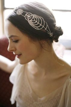 Bridal headpiece by Jennifer Behr