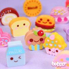 Kawaii Yummy Eraser Set - Series 4 This cute set includes 6 different food and candy shaped mini erasers. Cupcakes, burgers, biscuits and others. Each of them is around 3 x 3 x 1 cm. This series has 3 different sets available. Fimo Kawaii, Kawaii Cute, Kawaii Stuff, Kawaii Things, Office Deco, Eraser Collection, Cupcake Collection, Cool Erasers, Crea Fimo