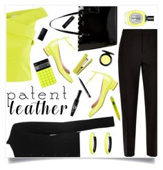 """patent leather"" by gretapom ❤ liked on Polyvore featuring Maison Margiela, Coast, Valentino, Jaeger, Kate Spade, Alexis Bittar, Bourjois, NARS Cosmetics, Diptyque and MAC Cosmetics"