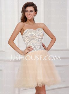 A-Line/Princess Sweetheart Knee-Length Satin Tulle Homecoming Dress With Beading (022017324)