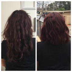 Before and after #ericjamesd #beautyblogger #hairblogger #behindthechair #modernsalon #americansalon #haircut #haircolor #hairstyle #hairbycontinuum #dslabs #lovingdslabs #davinesnorthamerica #schwarzkopf #paulmitchell #redhair #redhead ##beforeandafter #lahair #lastylist #transformationtuesday #balayage #darkhair #longhair #lob #wavyhair #shorthair #burgendyhair #brunettehair by ericjamesd