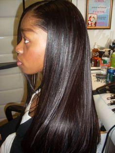 AMAZING hair! this is not a weave or extension. this is natural afro-textured hair that has been properly washed, dc'd, dried n straightened.