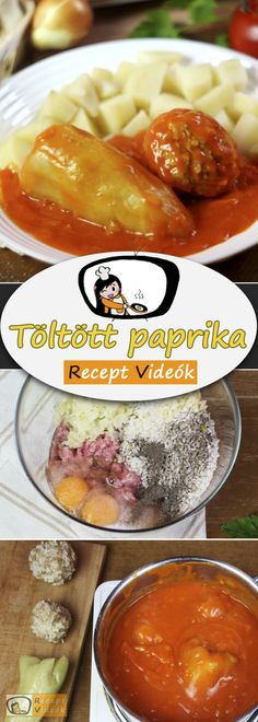 HAGYOMÁNYOS TÖLTÖTT PAPRIKA RECEPT KÉSZÍTÉSE VIDEÓVAL Hungarian Recipes, Hungarian Food, Chef Gordon Ramsay, Kitchen Aprons, Chana Masala, Main Dishes, Curry, Food And Drink, Cooking Recipes