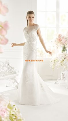 Court Train Sleeveless Appliques Wedding Dresses 2015
