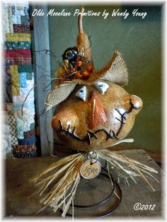 Autumn Fall Scarecrow by OldMoonLanePrimitive on Etsy, $40.00