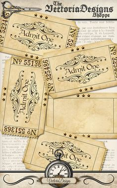 Printable Blank Vintage Tickets add text admit by VectoriaDesigns