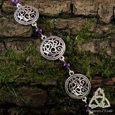 bijou bracelet elfique médiéval souffle des druides volutes entrelacs argenté améthyste violet foncé pierre gemme verte celtique ésotérisme païen wicca magie mariage cadeau