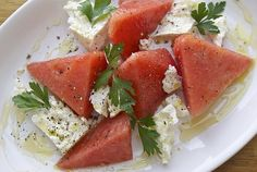 Watermelon and Feta Salad made with locally sourced ingredients
