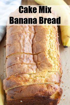 Easy cake mix banana bread is a great semi-homemade recipe. This banana bread recipe uses a cake mix and 4 other ingredients. Cake Mix Banana Bread, Banana Bread Muffins, Easy Banana Bread, Banana Bread Recipes, Banana Nut, Mini Chocolate Chip Muffins, Banana Oatmeal Cookies, Semi Homemade, Homemade Recipe