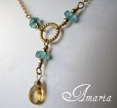 Apatite and citrine necklace by Amaria #boebot #etsybot