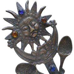 "Awesome PERUVIAN Early 20th-century SUN MOON TUPO Tupu with Dangling Milagro Charms ~ 94 Grams ~ 10"" Long ~ Museum Quality! Sun Moon, Art Object, Tribal Jewelry, Ruby Lane, Peru, Folk Art, Ethnic, Dangles, Charms"