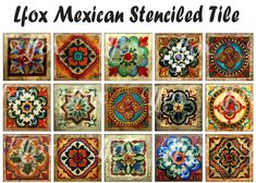 Fifteen highly detailed, hand painted tiles from Mexico. These can be used for flooring, countertops, backsplashes, fountains, inserts for tables and even stairs. All have lovely coloring and will blend perfectly with Southwestern or Mexican color themes.