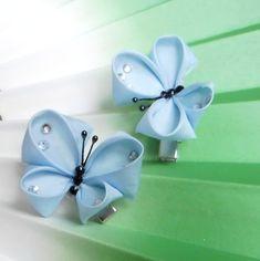 Blue kanzashi butterflies by elblack.deviantart.com on @deviantART