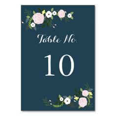 Navy floral Garden Table Number Card
