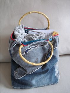 Denim bag to contain your knitting... (which is silly, really, because there is NOTHING that can contain ALL the knitting!!!