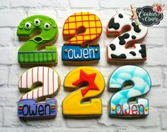 each of the six designs :) Number 2 cutter from Great White Brick backdrop from… Toy Story Food, Toy Story Theme, Toy Story Party, Woody Birthday Parties, Boy Birthday, Toy Story Birthday Cake, Birthday Ideas, Cumple Toy Story, Festa Toy Story
