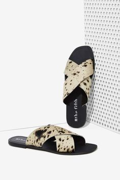The Fifth Make You Jump Pony Hair Slide Sandal - Marbled