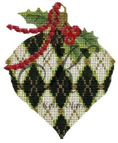 Peridot & Holly Harlequin by Kelly Clark Needlepoint on 18 mesh. Exclusive to A Stitch In Time in San Marino, CA.