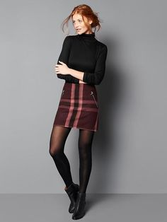Wool plaid zip mini skirt | Gap