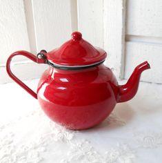 vintage enamel teapot red tea pot vintage by minoucbrocante,