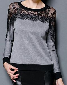Moda Gola de Jóia Mangas Compridas Emenda de Renda T-Shirt Para Mulher - sapatos da modasapatos da moda