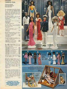 Celebrity Dolls from the J.C. Penney Christmas Catalog, 1970's - Linda Carter as Wonder Woman, Diana Ross, Sonny & Cher, The Captain & Tenille, Farrah Fawcett and Dolly Parton