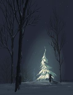 Winter snow and Christmas tree under the moon.
