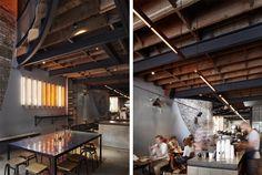 Reuben Hills Café by Herbert & Mason Studio, Sydney Australia Trip The Light Fantastic, Fluorescent Lamp, Exposed Beams, Stage Design, Sydney Australia, Surrey, Studio, Lighting Design, Design Projects