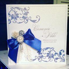 Royal blue embellished wedding invitation Deannamic Designs