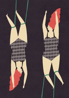 Trapezing twins A4 signed limited edition print by naomiwilkinson