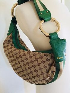 56156eee0b0 Auth GUCCI Monogram GG Canvas Green Leather Crescent Hobo Bag Gold Bamboo   purses  fashion
