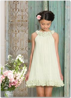 Biscotti First Crush Green Chiffon Dress Girls Spring Dresses, Flower Girl Dresses, Kids Outfits Girls, Girl Outfits, Beach Flower Girls, Green Chiffon Dress, Conservative Outfits, Necklines For Dresses, Toddler Dress