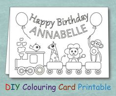 Personalized Coloring Kids Birthday Card by VeryFairyGood on Etsy Kids Birthday Cards, Happy Birthday, Last Minute Gifts, Color Card, Cool Diy, Art For Kids, Party Favors, Printables, Handmade Gifts