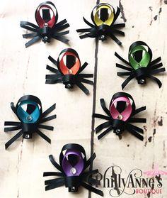 Items similar to Spider Ribbon Sculpture Hair Clip on Etsy Ribbon Art, Ribbon Crafts, Ribbon Bows, Ribbons, Ribbon Flower, Diy Hair Bows, Diy Bow, Bow Hair Clips, Bow Clip